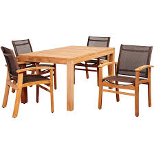 Teak Table And Chairs Amazonia Devlin 4 Person Sling Patio Dining Set With Teak Table