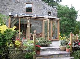 oak lean to extension greenhouse conservatory serre