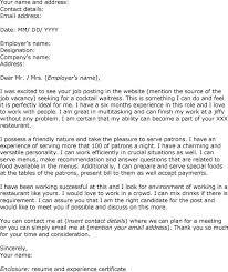 Resume Template For Waitress Download Waiter Cover Letter Haadyaooverbayresort Com