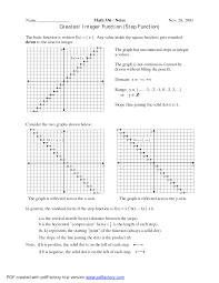 step function greatest integer function worksheet graphing