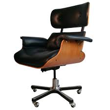 Executive Brown Leather Office Chairs Modernist Eames Style Leather Desk Chair At 1stdibs