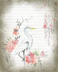 writing stationery paper flamingo printable writing paper stationary paper letter printable journal page crane bird writing stationery 8 x 10 jpg instant download scrapbook japanese crane digital printable lined paper
