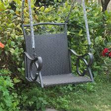 Hanging Patio Swing Chair International Caravan Resin Wicker Valencia Single Porch Swing