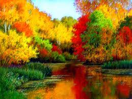 colorful colors forest forest creek autumn colorful colors painting water trees