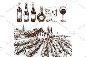 vintage winery wine production handmade draft winemaking sketch