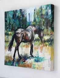 unique painting brown mare walking nina smart