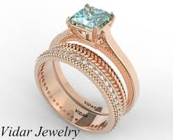 aquamarine wedding rings princess cut aquamarine wedding ring set vidar jewelry unique