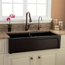 kitchen faucets atlanta double black stainless steel sink placed on the white wooden base