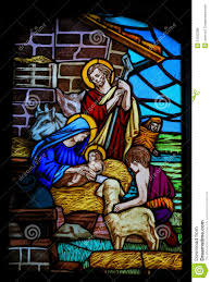 stained glass nativity scene at christmas stock photo image