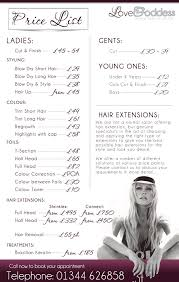 hair salons jc penny price list salon price list i like the layout and the photo at the bottom
