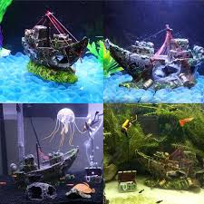 resin fishing shipwreck boat aquarium ornament fish tank