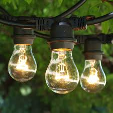 Commercial Grade Patio Light String by 330 Ft Black Commercial Medium String Light With A15 Clear Bulbs