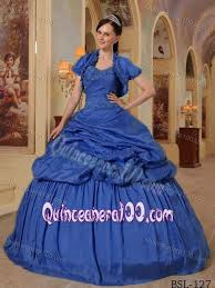 sapphire royal blue pleated sweet 16 dresses with capelet and pick