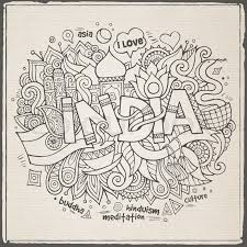doodle indian india lettering and doodles elements background vector