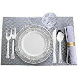 Decorative Plastic Plates For Wedding Amazon Com Wedding Plates Disposable Plates Bowls U0026 Cutlery