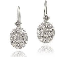 leverback diamond earrings diamond accent sterling silver filigree oval leverback earrings