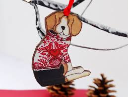 Christmas Decorations Shop Wigan by Beagle Christmas Decoration Sitting With Jumper By Ren And Thread