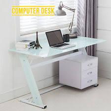 glass computer desks with drawers ebay