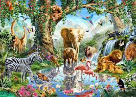 Safari Wall Murals Jungle Lake With Wild Animals Wall Mural Photo Wallpaper