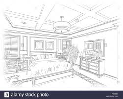 detailed line drawing of a beautiful bedroom stock photo royalty