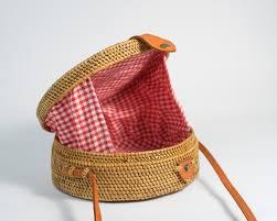flora red gingham rattan straw bag polkadee