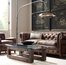 Chesterfield Sofa Restoration Hardware by Petite Kensington Leather Sofa
