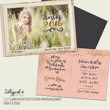 Post Card Invitations Modern Calligraphy Boho Senior Graduation Announcement