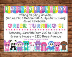 beanie boo adoption party birthday invitation jpg digital