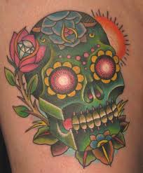 neo traditional sugar skull and rose by nate beavers tattoos