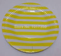 wedding party plates 10pcs 7inch yellow stripe dinnerware paper plate wedding