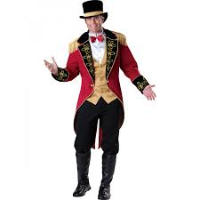 Mens Size Halloween Costumes Ringmaster Mens Costume Classic Red Coat Circus Ringmaster