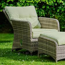 madrid two rattan reclining garden chairs with stool and table
