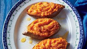 twice cooked sweet potatoes with citrus and honey recipe
