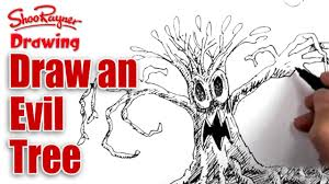 Halloween Drawings Easy How To Draw An Evil Tree Spoken Tutorial For Halloween Youtube