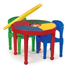 Children S Table With Storage by Round Red Plastic Table With Colorful Counter Top Combined With