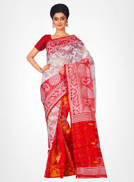 jamdani sharee cotton silk handloom dhakai jamdani saree white rlbfashion