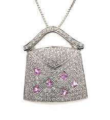 pink sapphire necklace images Diamond purse pendant pink sapphire necklace 14k white gold 0 69 jpg