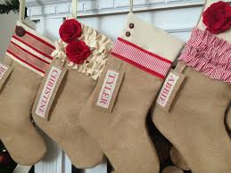 burlap christmas stocking red and personalized rustic