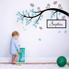 Nursery Stickers L20 Birds Branch Big Tree Personalised Name Wall Stickers Home