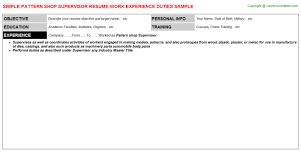 Guide In Making Resume Pattern Shop Supervisor Resume Sample