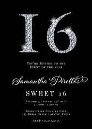 sweet 16 invitations 16 rhinestones invitation