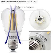 Light Led Bulb by Black Finish Pendant Light Fixture With Led Bulb Torchstar