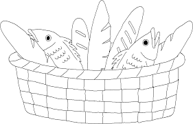 coloring page bread and fish in a basket