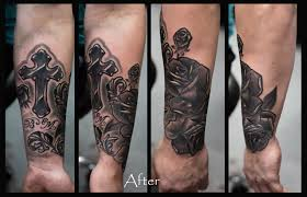 cross roses cover up by pradeep junior at astron tattoos