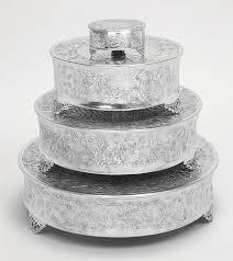 wedding cake stand buy tierra wedding cake stand plates set 4 aluminum cake
