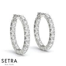 inside out diamond hoop earrings 3 60ct inside out diamonds hoop earrings 22mm 14k gold setra