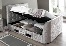 Ottoman Storage Bed Double by Kaydian Barnard Tv Ottoman Storage Bed Silver Crush Fabric