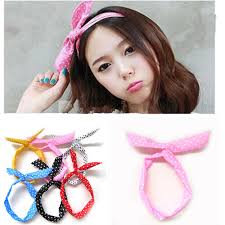 korean headband retro 50s 60s wire polkadot headband hair band wrap headwrap