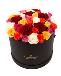 Multicolor Roses Box With Multicolor Roses Deluxe Online Flower Shop