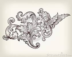 vintage baroque floral scroll ornament vector шаблоны трафареты